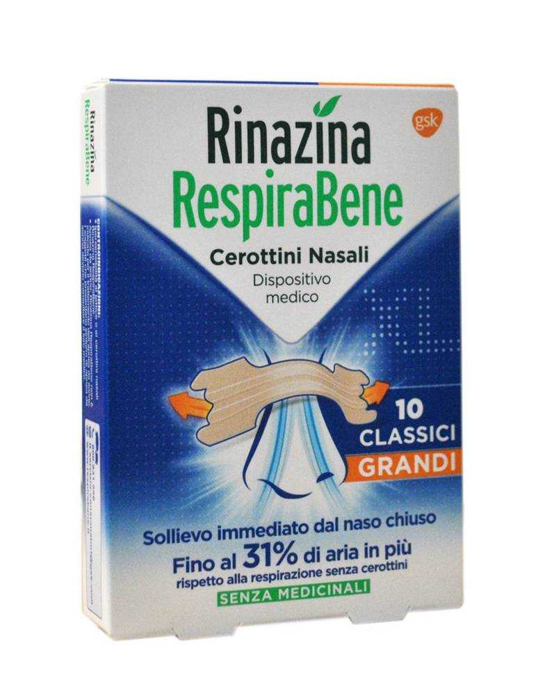 Rinazina RespiraBene 10 cerottini nasali grandi 972708794
