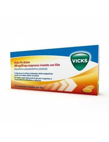 Vicks Flu Action per febbre e raffreddore 12 compresse Vicks042499032 Vicks