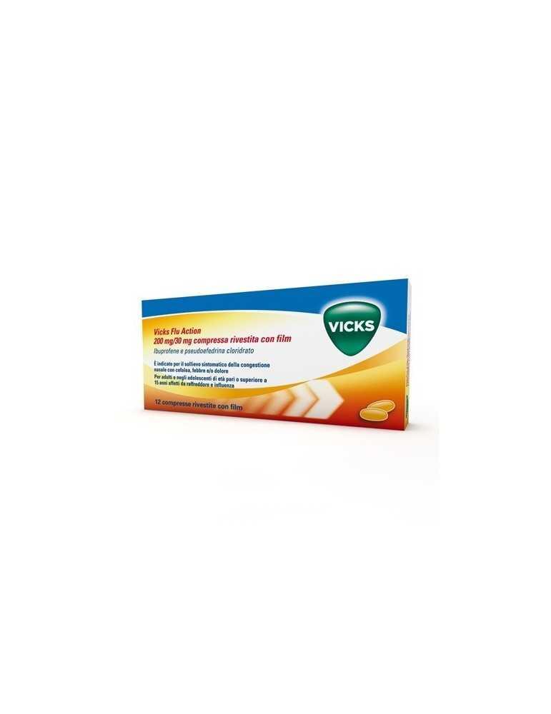 Vicks Flu Action per febbre e raffreddore 12 compresse 042499032