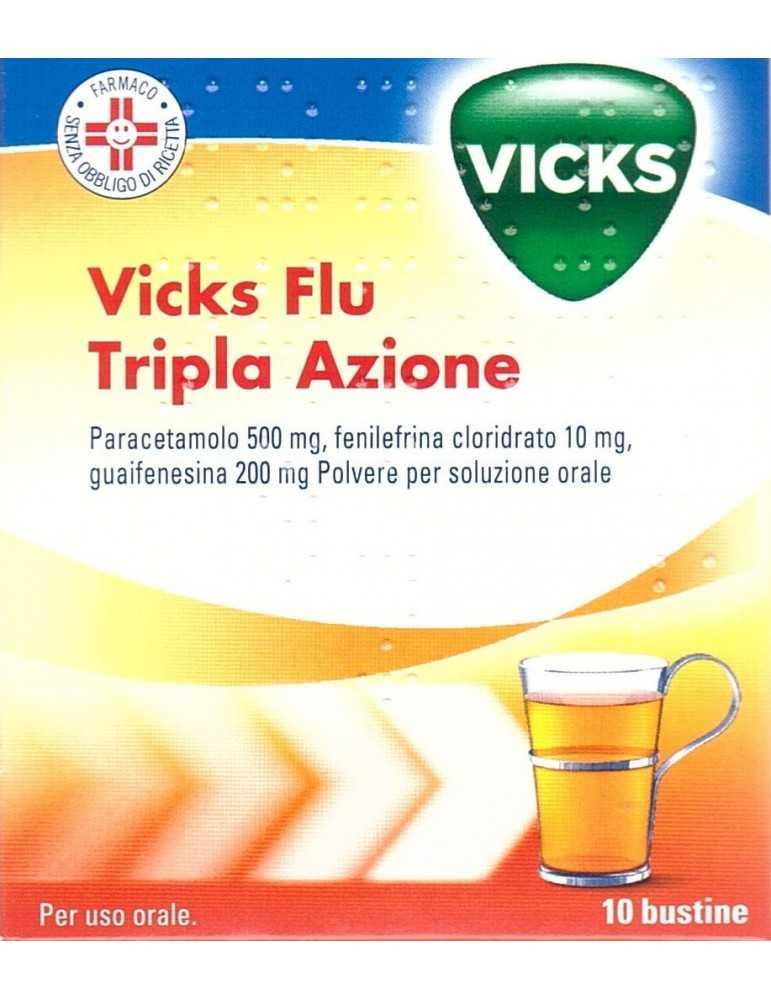 Vicks Flu Tripla Azione raffreddore e influenza 10 bustine 039773027
