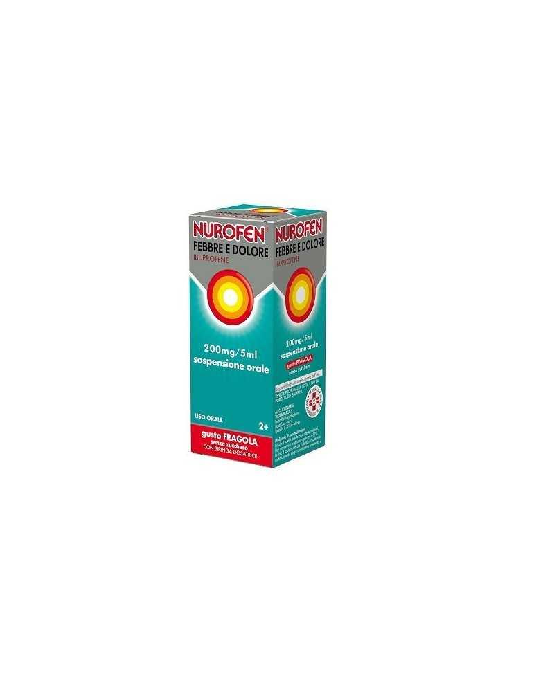 Nurofen Febbre e dolore per bambini uso orale 200 mg / 5ml gusto fragola 100ml con siringa dosatrice 034102386