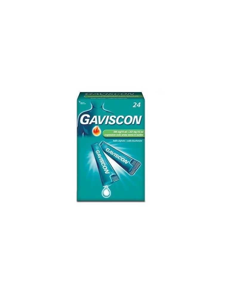 Gaviscon 24 Bustine Antiacido Aroma Menta 500 + 267mg/10ml 024352142