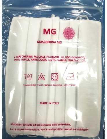 MG Mascherina facciale 100% cotone lavabile 2 pezzi
